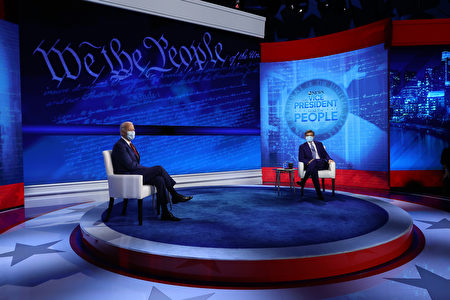民主黨總統候選人拜登(Joe Biden)2020年10月15日在費城參加美國廣播公司(ABC)的市政廳論壇活動,主持人是ABC的首席新聞政治主播、「早安美國」的喬治·斯蒂芬諾普洛斯(George Stephanopoulos)。(Chip Somodevilla/Getty Images)