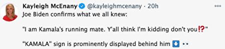 白宮新聞發言人麥肯納尼(Kayleigh McEnany)周二發推文說:「拜登(今天說的話)證實了我們所知道:賀錦麗幾個字正好在他背後赫然出現。」(Kayleigh McEnany via twitter)