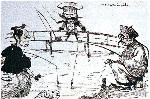 關於中日俄三國之間爭端的諷刺漫畫,發表於1887年的日本雜誌《陶拜》第一版。(公有領域)