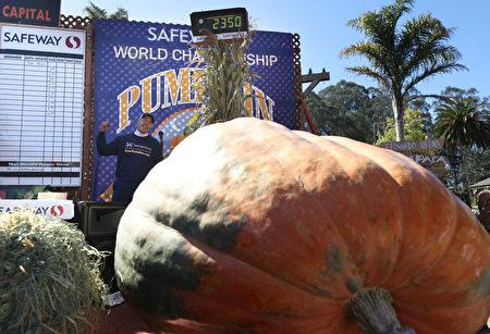 美国园艺师种出超1吨重巨型南瓜 大赛夺冠