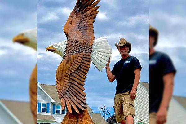 栩栩如生 美艺术家为川普雕刻九英尺白头鹰