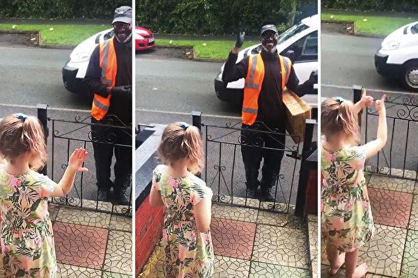 美国8岁女孩送温暖 哑语祝福聋哑送货司机