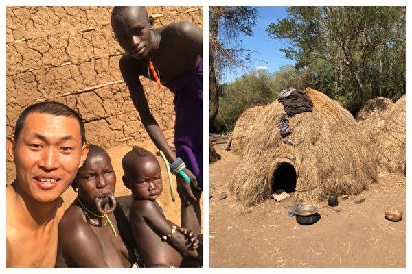 界立建被一個遊牧原始民族收留,住了一晚草窩房。(受訪者提供)