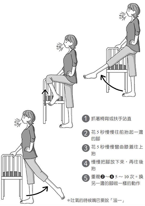 """肾脏复健体操①""""抬脚""""。(大树林出版提供)"""