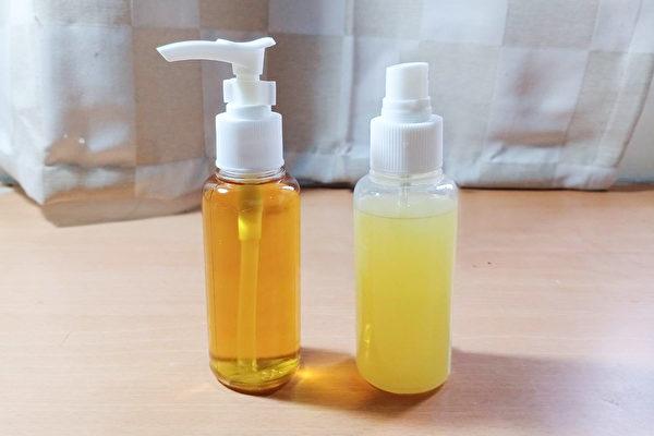 用柚子皮萃取液製作的柚子洗手乳(左)和柚子消毒噴霧(右)成品。(唐依旋/大紀元)