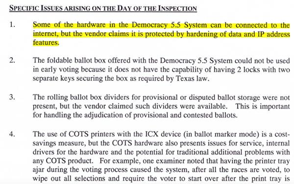 在德州,Dominion投票機三次被拒獲得州選舉認證。測試報告列出了系統存在重大安全問題的眾多原因。(取自德州政府網站:https://www.sos.state.tx.us/elections/forms/sysexam/jan2019-hurley.pdf)