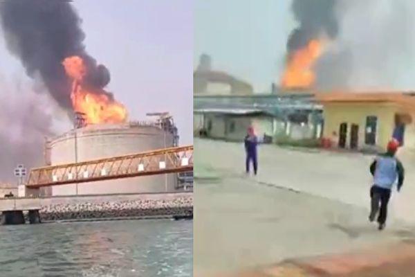 廣西鐵山港區碼頭罐頂失火 至少7人受傷