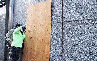 組圖:怕大選日有暴動 商家趕工裝木板