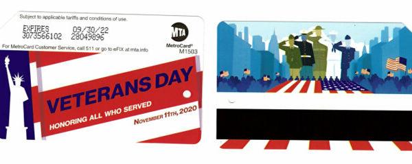 MTA發售5萬張紀念退伍軍人節捷運卡