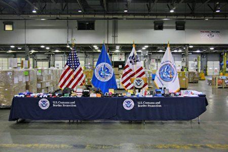 2020年11月24日,美国海关与边境保护局(CBP)纽约办事处和国土安全调查处(HSI)展示了今年查获的各式仿冒品。