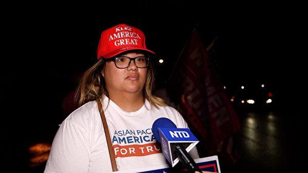 青年共和黨選民諾思(Lisa Noeth)說,克拉克縣選舉辦公室拒絕驗證選民簽名。(新唐人電視台)