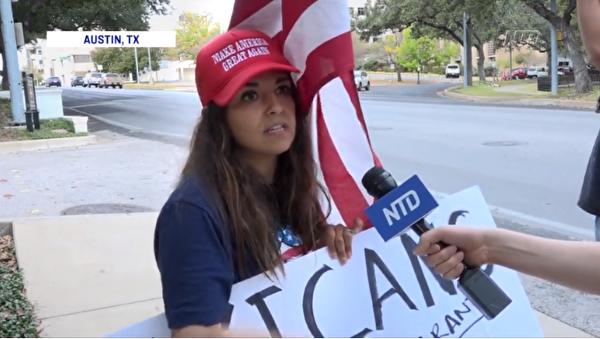 11月14日,德州首府奧斯丁民眾集會,呼籲公平選舉。圖為一位選民接受新唐人電視台記者採訪表示,她支持特朗普總統反對社會主義。(新唐人影片截圖)