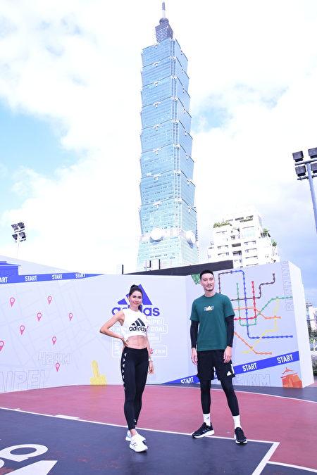 王陽明(右)與模特兒雷理莎4日出席路跑活動。