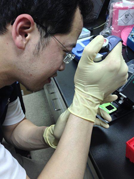 中山附醫眼科主任許閔彥在清大攻讀博士時,操作微流道核酸分析儀。