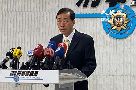刑事警察局12日召開破案記者會,偵四大隊副大隊長何明賢說明案情。