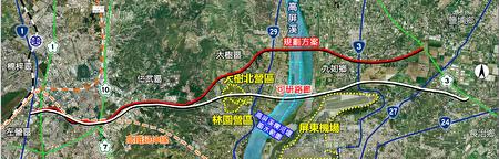 高屏第2条东西向快速道路规划图。