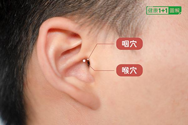 改善喉咙痛的耳穴:咽穴、喉穴。(健康1+1/大纪元)