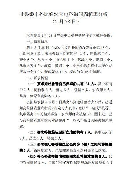圖為2月28日,吐魯番市外地蜂農來電諮詢問題梳理分析。(大紀元)