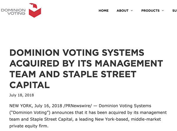 Dominion的官網顯示,2018年7月16日,位於紐約的私招股權公司Staple Street Capital收購了Dominion以及公司管理層。(取自Staple Street Capital網站)