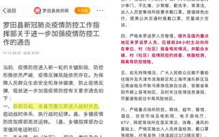 疫情升级 湖北黄冈罗田县宣布进入战时状态