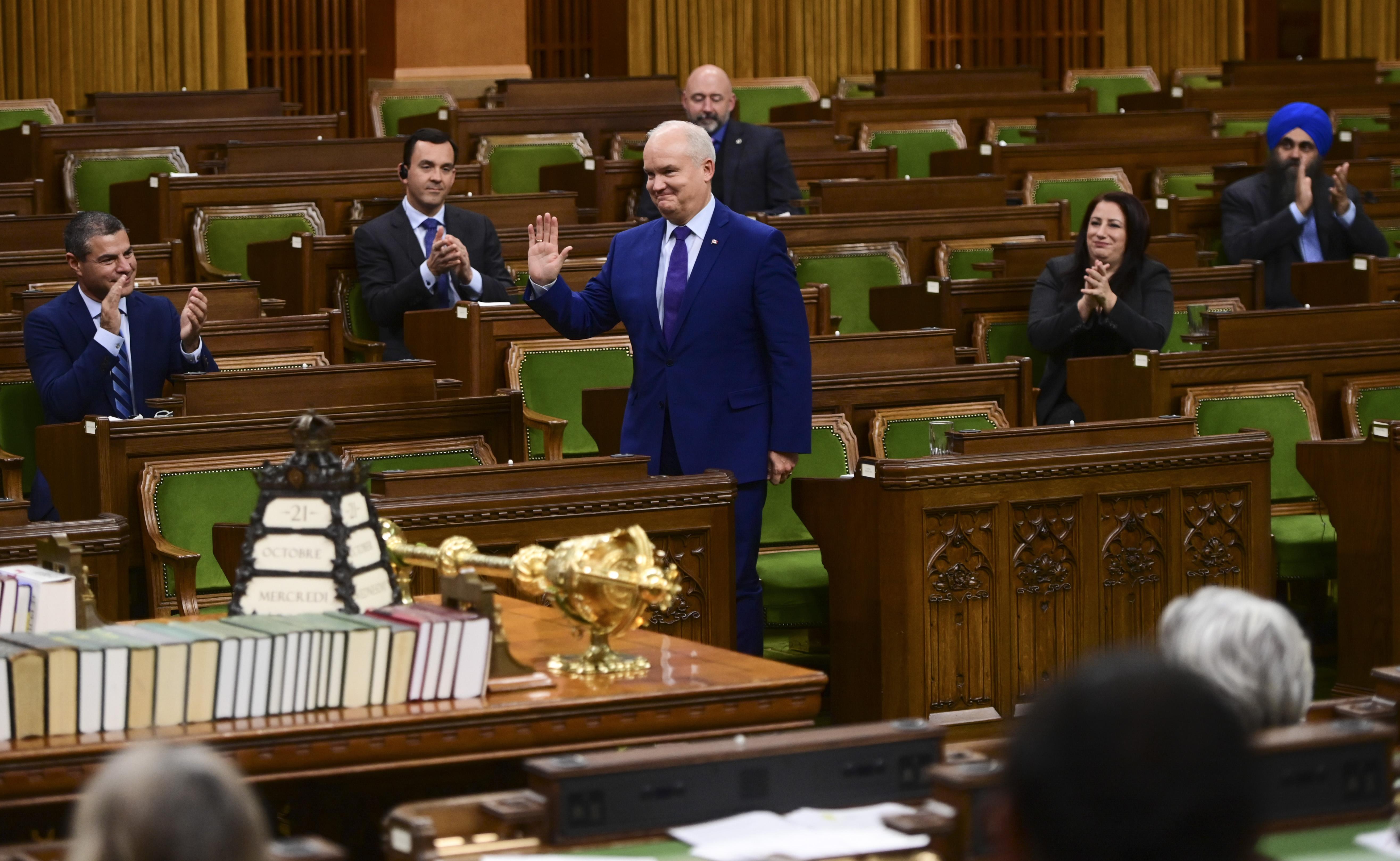 加拿大保守黨領袖歐林·奧圖爾(Erin O'Toole)說:「現在是採取行動的時候了。首先,我們呼籲自由黨政府能使自己的脊樑骨硬起來。」(Sean Kilpatrick/加通社)