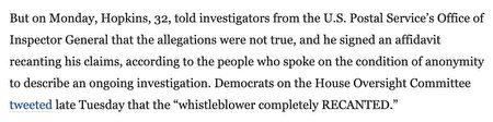 《華盛頓郵報》刊登記者Shawn Boburg和Jacob Bogage的署名文章,題目為「官方說,郵局員工撤回了篡改選票的指控」。(文章截圖)
