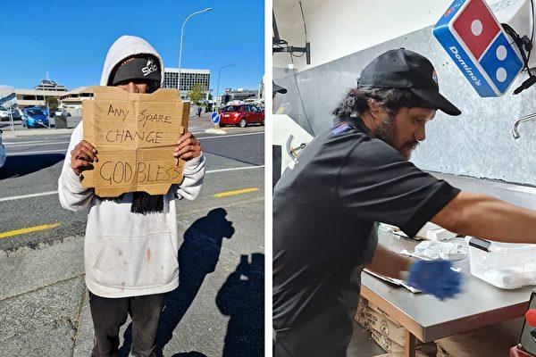 無家可歸男街邊乞討 披薩店主:給你一份工作