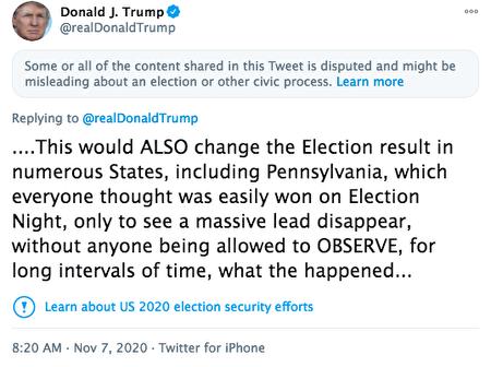 現任總統特朗普11月7日的關於大選的推文再次被推特審查與屏蔽。(Shotscreen of Trump's Twitter)