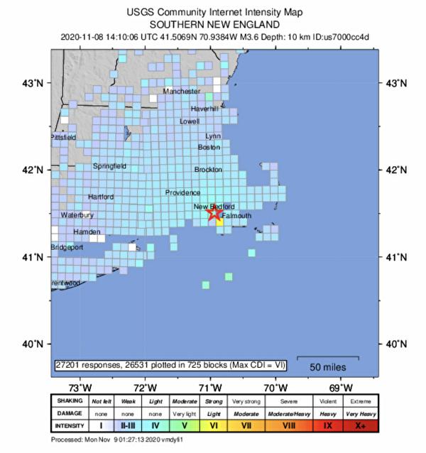 麻州东部11月8日上午发生3.6级地震