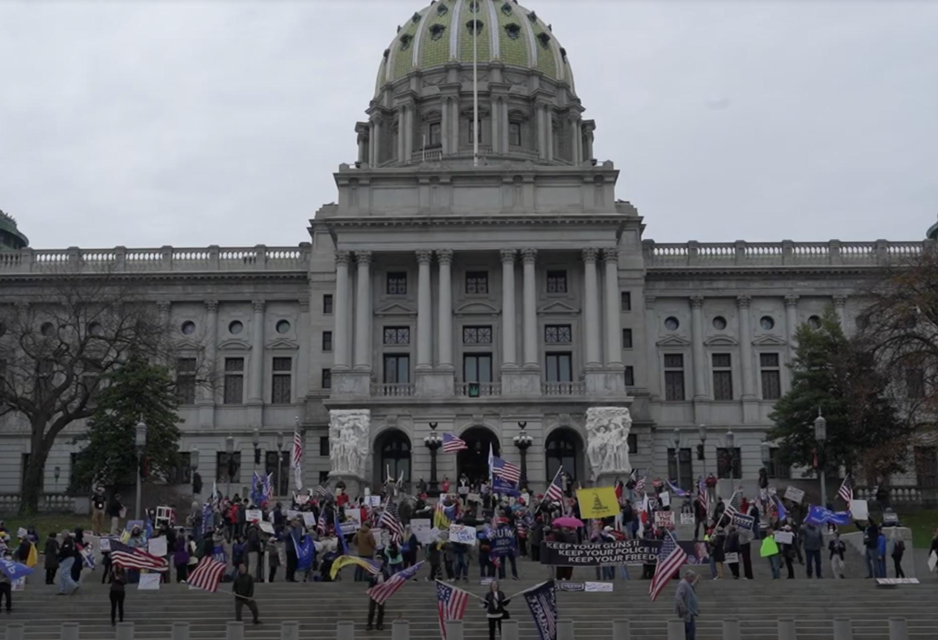 賓州「停止竊選」集會抗議 民眾:為正義而戰
