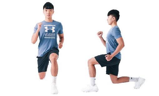訓練姿勢的運動:分腿蹲。(日日幸福提供)