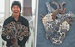 废弃自行车链条 在他手里变成精美艺术品