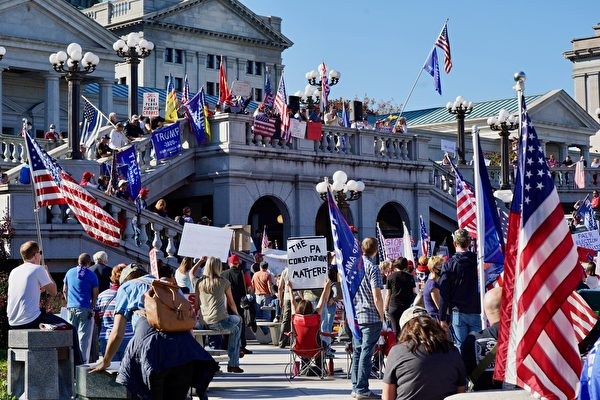 宾州民众抗议大选舞弊 捍卫自由和价值