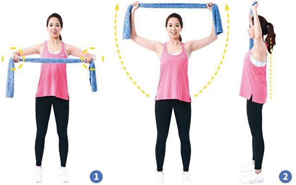 克服圆肩运动的作法。(日日幸福提供)
