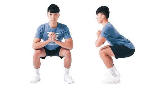 训练姿势的运动:深蹲。(日日幸福提供)