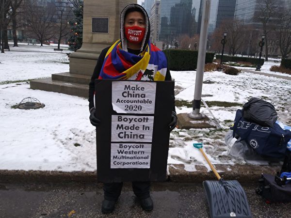 12月9日,「西藏青年議會」多倫多副主席桑尼·索南說:「我們絕食是為了藏人、維吾爾人、香港人及遭中共關押的2位加拿大人的自由。」 (伊鈴/大紀元)