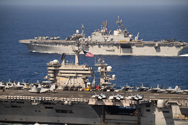 2020年2月15日,罗斯福号航母(CVN 71)和两栖攻击舰美利坚号(LHA 6)在太平洋联合演练。(美国海军)