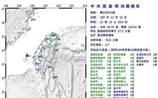 台湾东部海域发生规模6.7地震