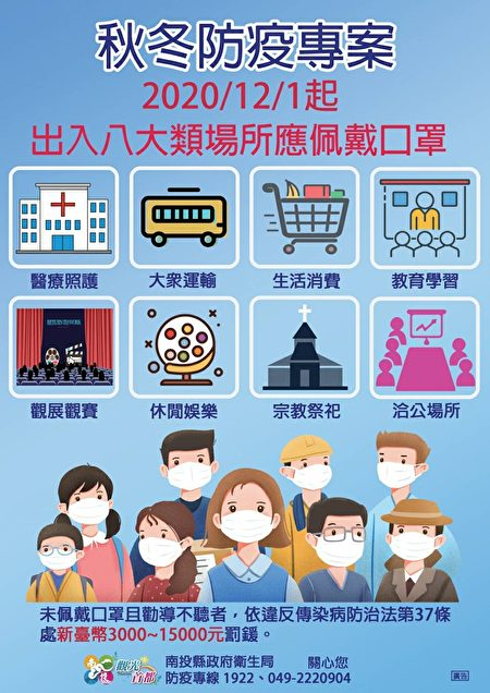 """南投县政府""""秋冬防疫专案""""宣导资料。"""