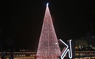 基隆海洋广场灯塔 17米圣诞树点灯