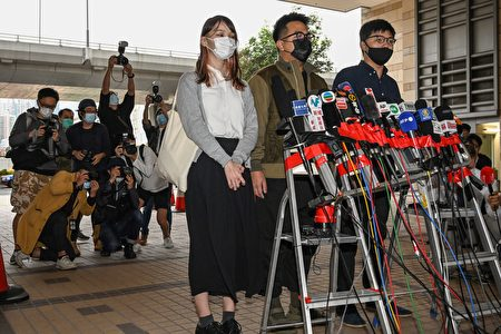 图为近期被港府判刑入狱的香港众志成员黄之锋(右起)、林朗彦、周庭。