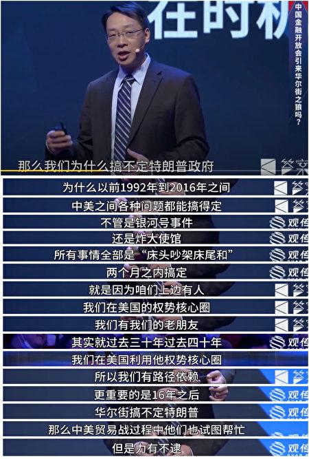 中國人民大學國際關係學院副院長翟東昇近日在演講自爆,中共過去幾十年如何利用華爾街搞定美國。(影片截圖合成)