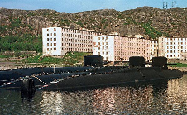 俄罗斯的奥斯卡级导弹攻击潜艇。(Alexander Nemenov/AFP via Getty Images)