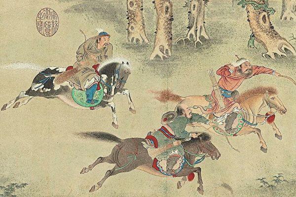 秋獵圖,弓箭,打獵,獵人