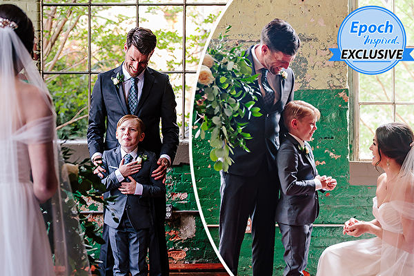 漂亮新娘婚礼上送继子特殊礼物 男孩哭了