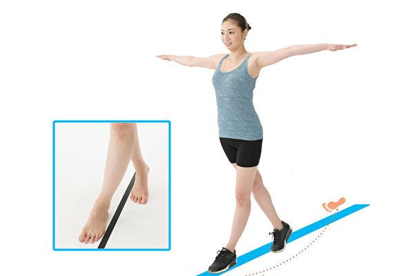 「交叉步行」的走路方法能改善身體歪斜狀況,並加速燃脂減肥。(和平國際/大紀元製圖)