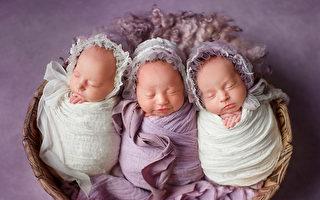 初為人母產下同卵三胞胎 概率2億分之1