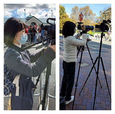 图为李晓华在宾州川普演讲会场做采访报导。