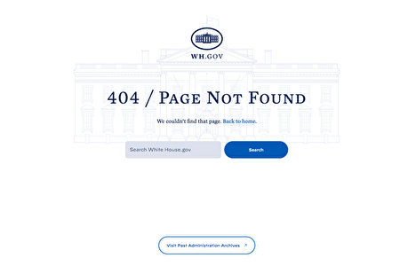"""2021年1月24日,《美国对中华人民共和国的战略方针》的网址连结在白宫网站显示为""""404/Page Not Found""""。"""