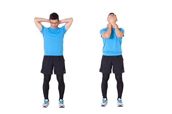通过2组伸展运动,能放松颈椎,改善失眠、胸闷、晕眩头痛等一系列毛病。(郑云龙提供/大纪元合成)